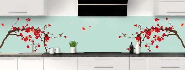 Crédence de cuisine Cerisier japonnais couleur vert pastel panoramique