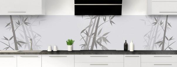 Crédence de cuisine Bambou zen couleur gris clair panoramique