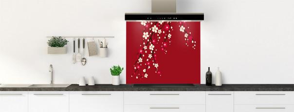 Crédence de cuisine Arbre fleuri couleur rouge carmin fond de hotte motif inversé