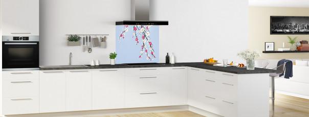 Crédence de cuisine Arbre fleuri couleur bleu azur fond de hotte en perspective