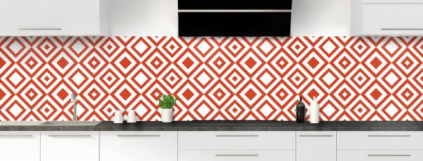 Crédence de cuisine Losanges vintage couleur rouge brique panoramique