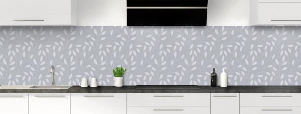 Crédence de cuisine Rideau de feuilles couleur gris métal panoramique
