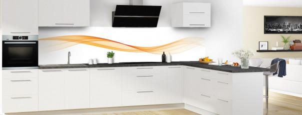 Crédence de cuisine Vague graphique couleur abricot panoramique en perspective