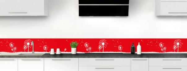 Crédence de cuisine Pissenlit au vent couleur rouge vif dosseret motif inversé