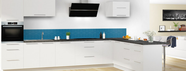Crédence de cuisine Cubes en relief couleur bleu baltic dosseret en perspective
