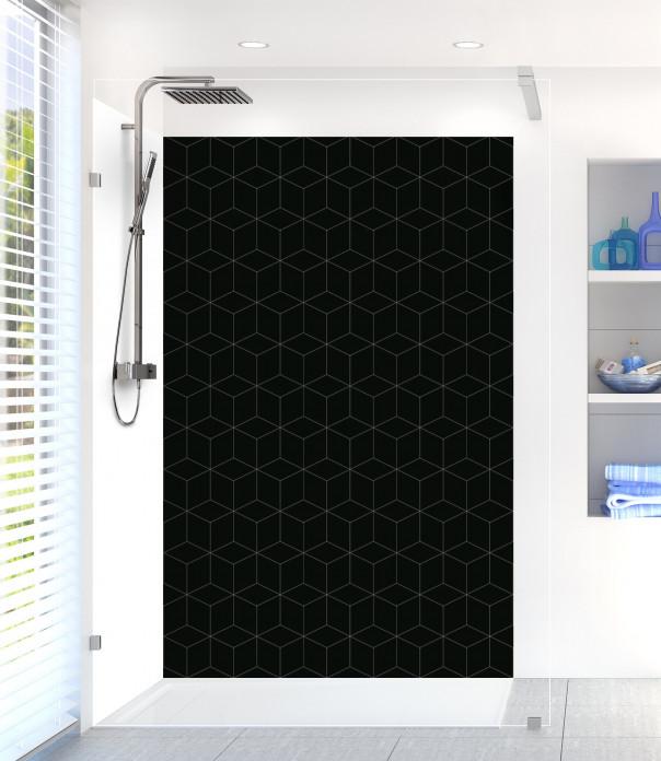 Panneau de douche Cubes en relief couleur noir