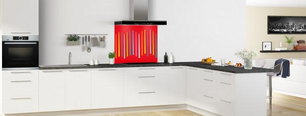 Crédence de cuisine Barres colorées couleur rouge vif fond de hotte en perspective