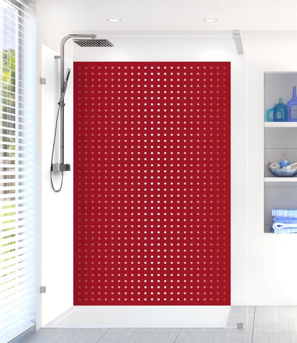 Panneau de douche Petits carrés couleur rouge carmin