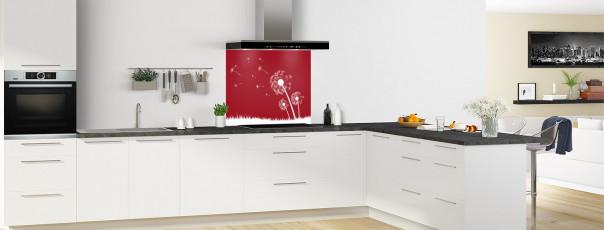 Crédence de cuisine Pissenlit au vent couleur rouge carmin fond de hotte motif inversé en perspective