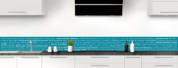 Crédence de cuisine Recettes de cuisine couleur bleu canard dosseret