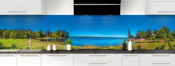 Crédence de cuisine Lac boisé panoramique motif inversé