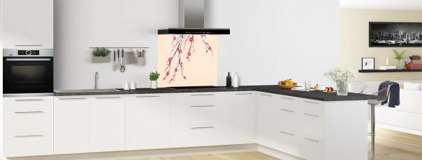 Crédence de cuisine Arbre fleuri couleur sable fond de hotte motif inversé en perspective