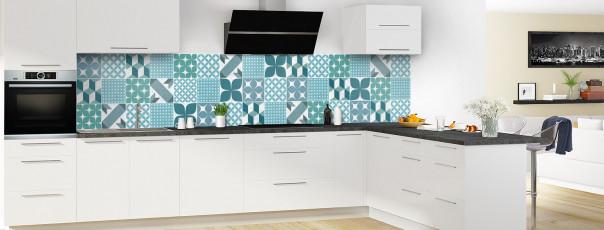 Crédence de cuisine Carreaux de ciment patchwork gris bleu panoramique en perspective