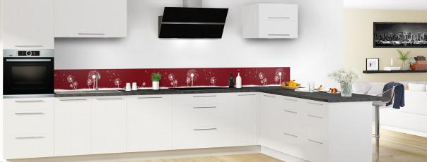 Crédence de cuisine Pissenlit au vent couleur rouge pourpre dosseret motif inversé en perspective