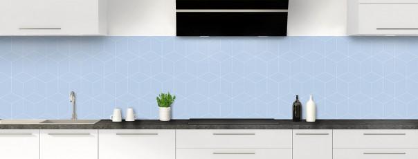 Crédence de cuisine Cubes en relief couleur bleu azur panoramique