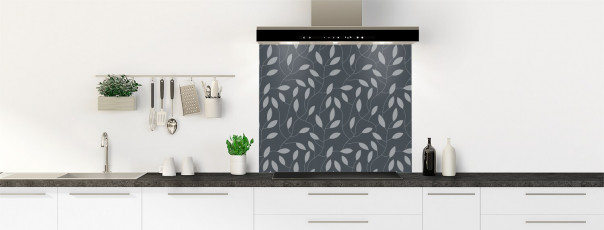 Crédence de cuisine Rideau de feuilles couleur gris carbone fond de hotte