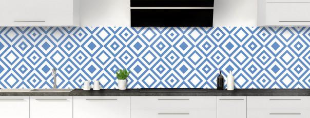Crédence de cuisine Losanges vintage couleur bleu lavande panoramique