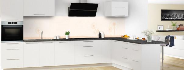 Crédence de cuisine Pissenlit au vent couleur magnolia panoramique motif inversé en perspective