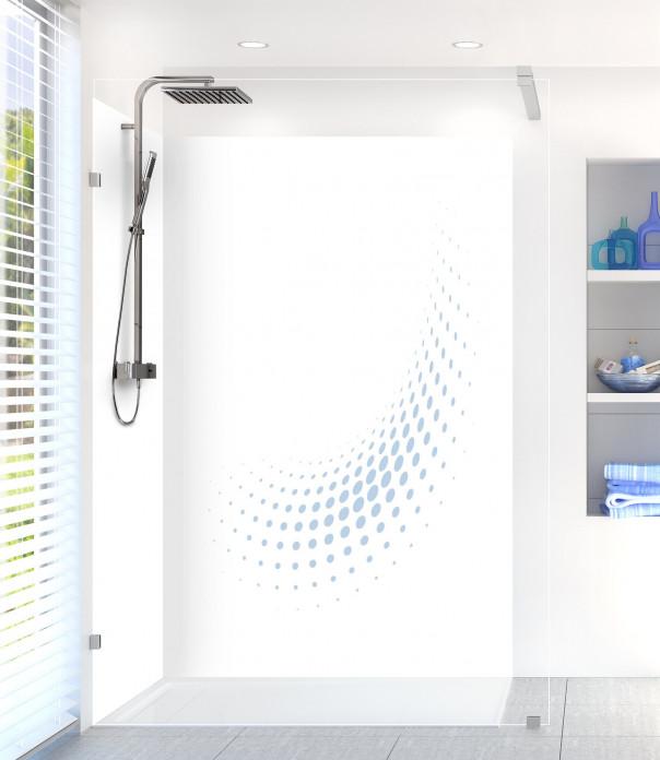 Panneau de douche Nuage de points couleur bleu azur motif inversé