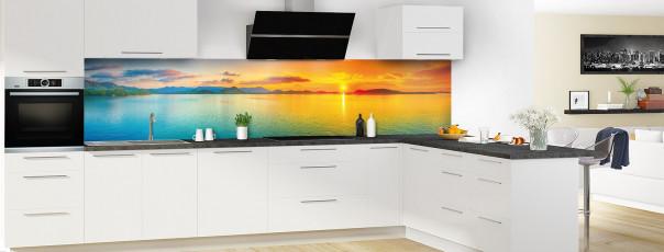 Crédence de cuisine Coucher de soleil panoramique motif inversé en perspective