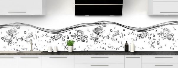 Crédence de cuisine Aqua et bulles Blanc panoramique