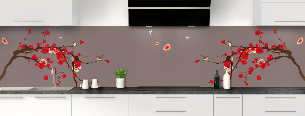 Crédence de cuisine Cerisier japonnais couleur taupe panoramique motif inversé