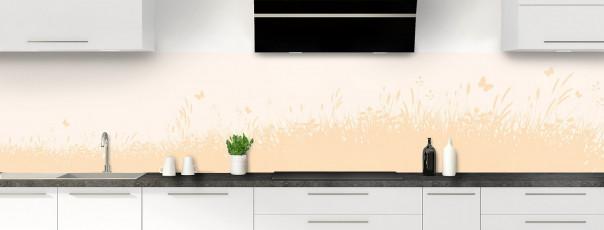 Crédence de cuisine Prairie et papillons couleur magnolia panoramique motif inversé