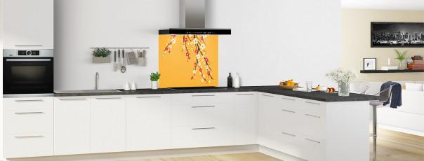Crédence de cuisine Arbre fleuri couleur abricot fond de hotte en perspective