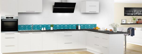 Crédence de cuisine Carreaux de ciment hexagonaux bleu dosseret en perspective