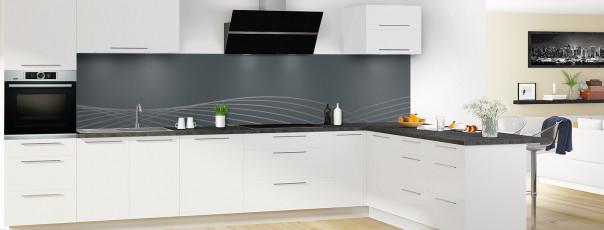 Crédence de cuisine Courbes couleur gris carbone panoramique motif inversé en perspective