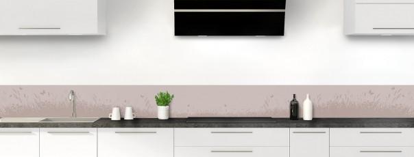 Crédence de cuisine Prairie et papillons couleur argile dosseret