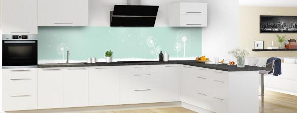 Crédence de cuisine Pissenlit au vent couleur vert pastel panoramique motif inversé en perspective