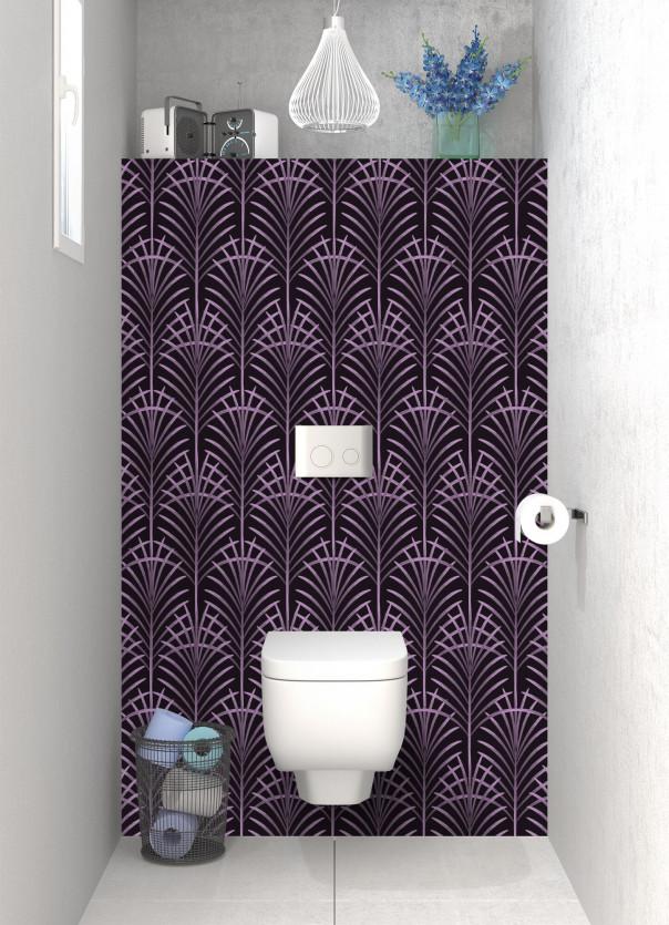 Panneau WC Feuilles de paume couleur parme