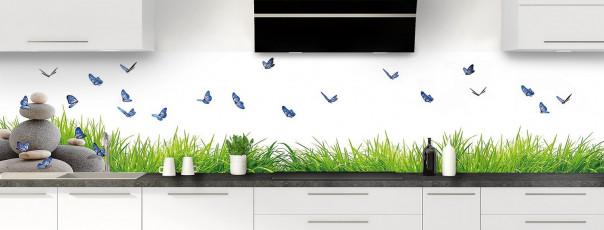 Crédence de cuisine Galets et papillons Blanc panoramique motif inversé
