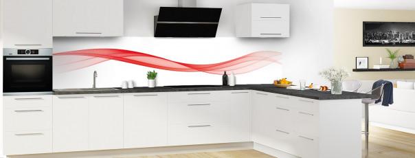 Crédence de cuisine Vague graphique couleur rouge vif panoramique en perspective