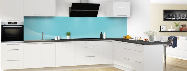 Crédence de cuisine Ombre et lumière couleur bleu lagon panoramique en perspective