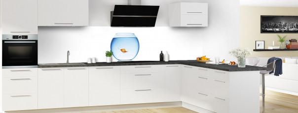Crédence de cuisine Poisson rouge panoramique motif inversé en perspective