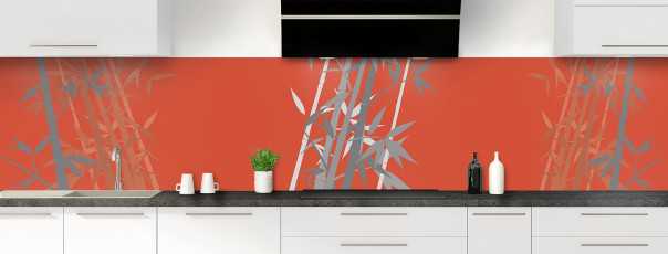 Crédence de cuisine Bambou zen couleur rouge brique panoramique