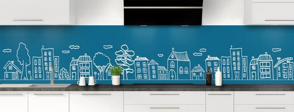Crédence de cuisine Dessin de ville couleur bleu baltic panoramique