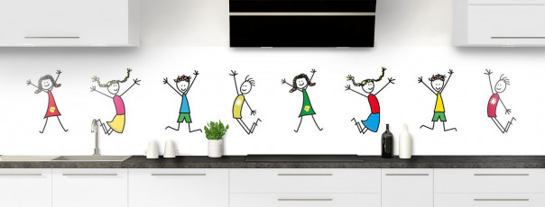 Crédence de cuisine illustration Enfants  panoramique