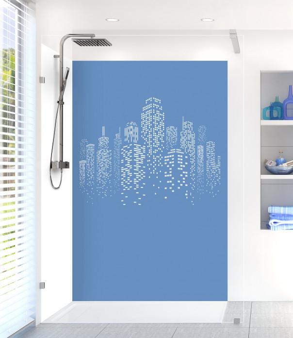 Panneau de douche Gratte-ciels couleur bleu lavande motif inversé