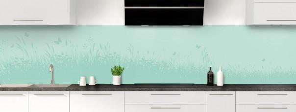 Crédence de cuisine Prairie et papillons couleur vert pastel panoramique
