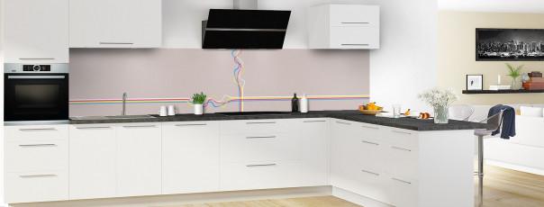 Crédence de cuisine Light painting couleur argile panoramique motif inversé en perspective
