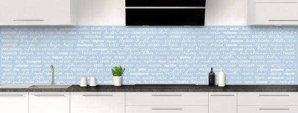 Crédence de cuisine Etapes de recette couleur bleu azur panoramique