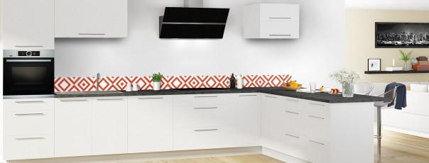 Crédence de cuisine Losanges vintage couleur rouge brique dosseret en perspective