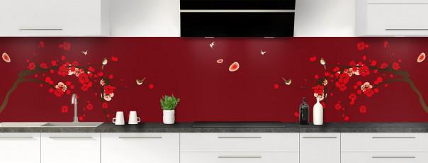 Crédence de cuisine Cerisier japonnais couleur rouge pourpre panoramique motif inversé