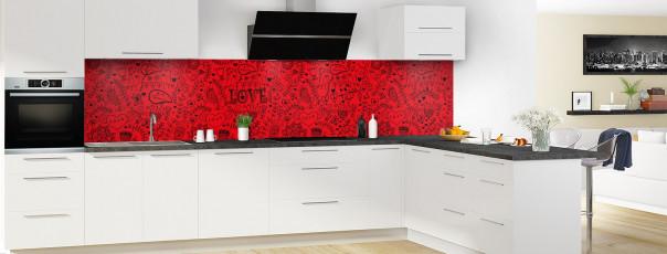 Crédence de cuisine Love illustration couleur rouge vif panoramique en perspective