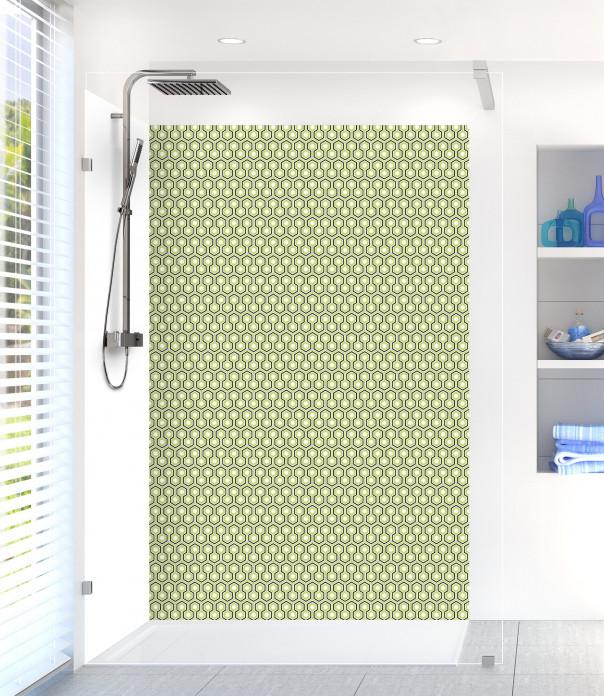 Panneau de douche Hexagones  couleur vert olive