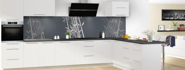 Crédence de cuisine Bambou zen couleur gris carbone panoramique motif inversé en perspective