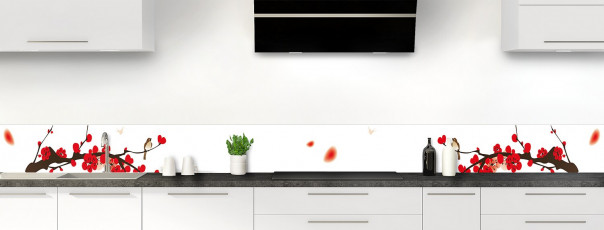Crédence de cuisine Cerisier japonnais couleur blanc dosseret motif inversé